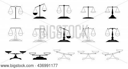 Scales Icon Vector Set. Scale Illustration Sign Collection. Balanced Scale Cups, An Unbalanced Scale