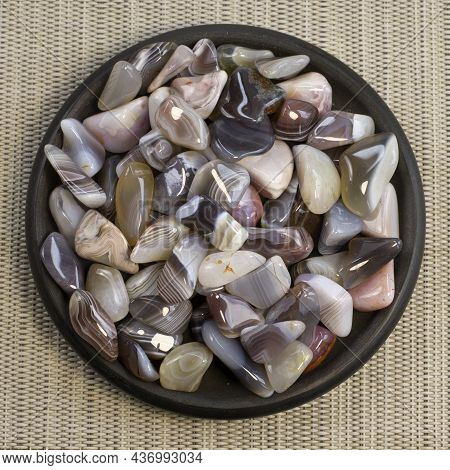 Natural Agate, Various Types And Color, Gems Mineral Collection As Nice Natural Background Top View