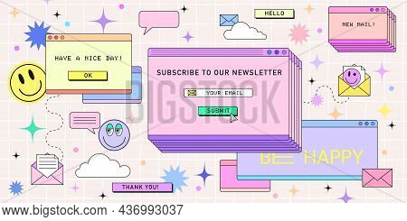 Subscribe Newsletter Web Banner Template In Retro Computer Interface Style. Retrowave Design For Mai