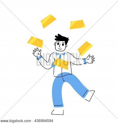 Investing In Gold. Businessman Juggling A Pile Of Bullion. Lots Of Yellow Metal Bars Or Ingot. Growi