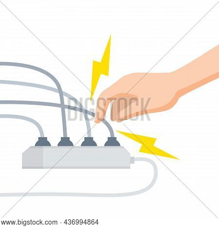 Electric Shock And Short Circuit. Safety Precautions. Hand Touches Broken Socket. High Voltage. Dang