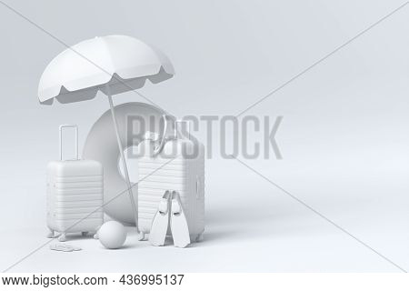 Suitcase With Beach Umbrella And Inflatable Ring On Monochrome Background.