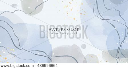 Abstract Dusty Blue And Pastel Grey Liquid Watercolor Background With Wavy Lines And Gold Stains. Pa