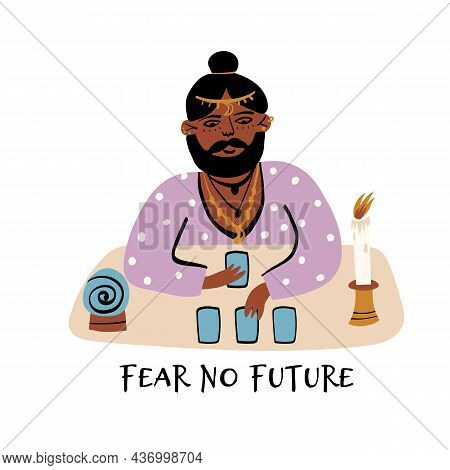 Cute Bearded Man Fortune Teller In Earrings Divines Tarot Cards. A Crystal Ball Stand Nearby, A Pred