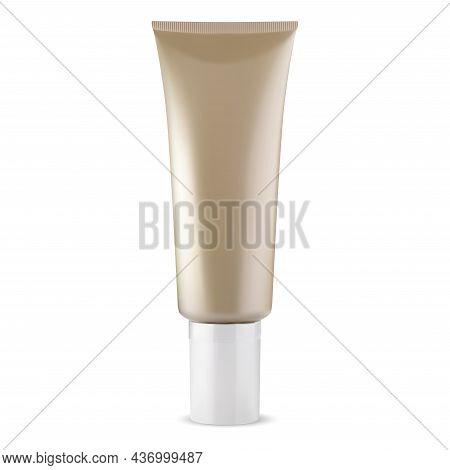 Cream Tube. Face Makeup Foundation Bb Cream Bottle. Beige Facial Care Beauty Liquid Tone Mockup. Bea