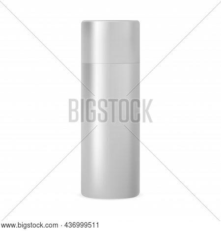 Silver Metal Aerosol Spray Mockup. Hairspray Aluminum Tin Template Design Isolated. Cylinder Paint T