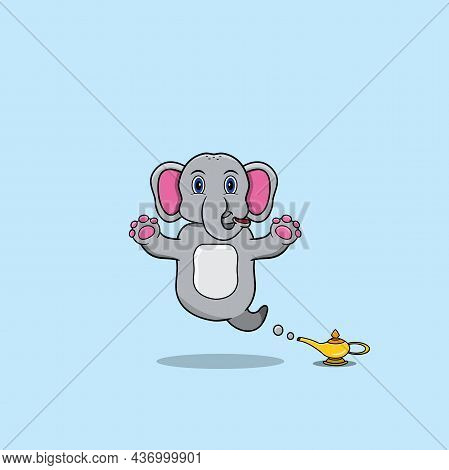 Cute And Funny Animals With Elephant. Genie Character. Perfect For Mascot, Logo, Icon, And Character