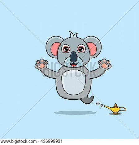 Cute And Funny Animals With Koala. Genie Character. Perfect For Mascot, Logo, Icon, And Character De