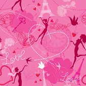 Seamless pattern in pink colors - Silhouettes of fashionable girls hearts and birds. Love dreams in Paris. poster