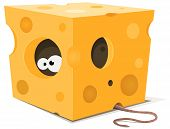 Illustration of funny cartoon mouse character's eyes eating from inside a piece of cheese with tail visible outside poster