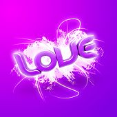 3D illustration of the word Love over a modern abstract background. poster