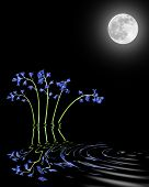 Bluebell flower abstract with reflection in rippled water and a glowing full moon on the spring equinox. Over black background. poster