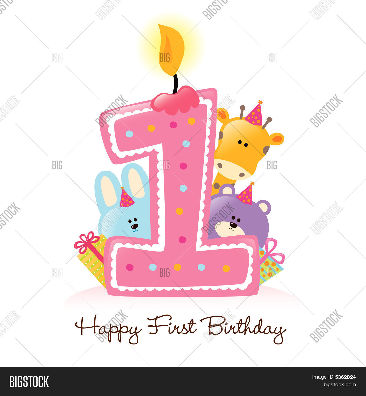 Happy first birthday vector photo free trial bigstock happy first birthday candle and animals isolated stopboris Gallery