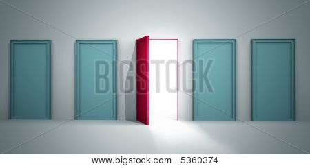 Opportunity to success concept only one red door is open for opportunity 3d illustration poster