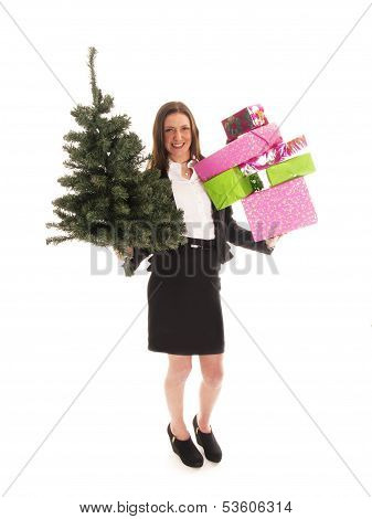 Beautiful Young Business Woman With Gifts