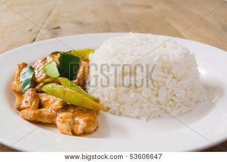 Fried Stir Chicken With Red Curry Paste