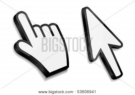Mouse hand and arrow cursors vector illustration