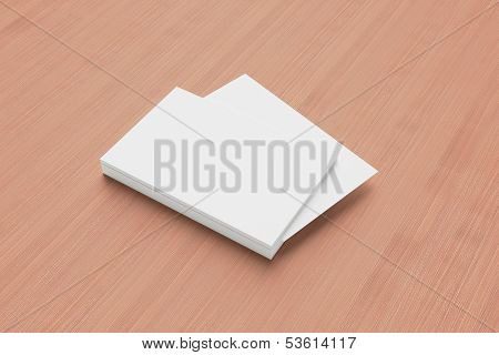 Blank Business Cards On Wooden Background