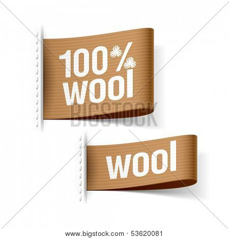 100% wool product clothing labels. Vector.