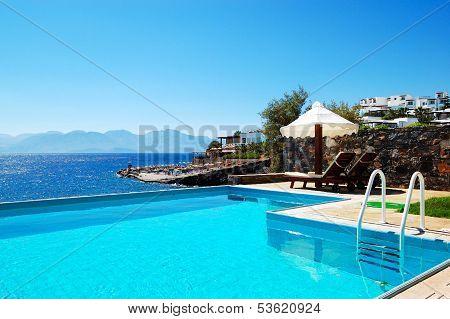 Swimming Pool At Luxury Villa, Crete, Greece