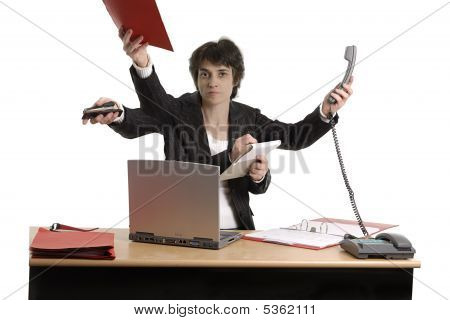 Business Woman Doing Multiple Tasks