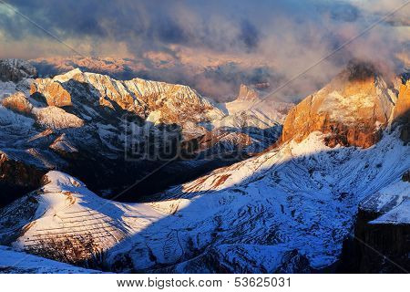 Winter sunsrise landscape in Sella Group, Dolomites, Italy - View fom Piz Boe
