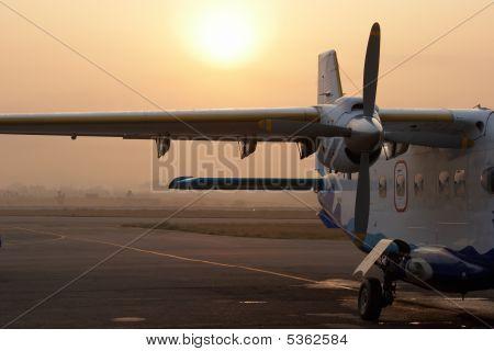 Small Airplane In Kathmandu Airport, Nepal