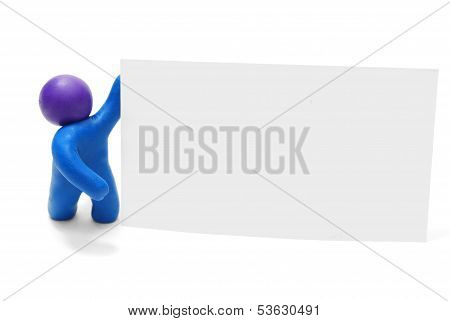 3D Man With Blank Card