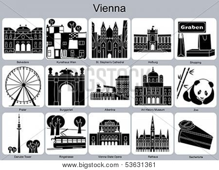 Landmarks of Vienna. Set of monochrome icons. Editable vector illustration.