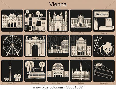Landmarks of Vienna. Set of monochrome icons. Editable vector illustration.