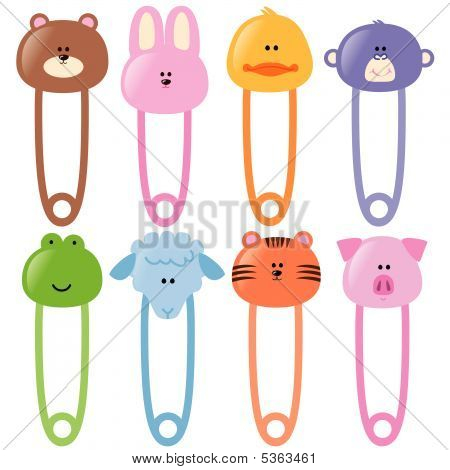Baby animamls safety pins set 1 vector