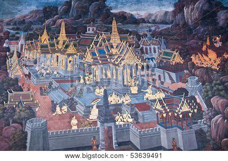 Thai Pattern,public Art Painting At Wat Phra Kaew