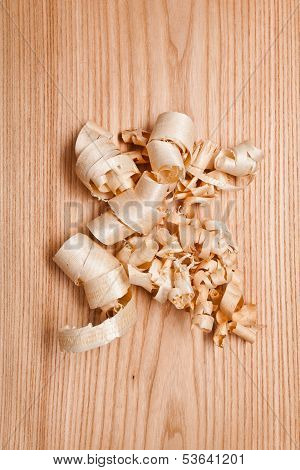 Woodchips (shavings) On Wooden Surface