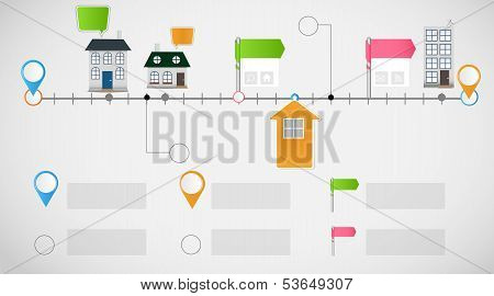 Timeline infographic business template vector illustration. This is file of EPS10 format. poster