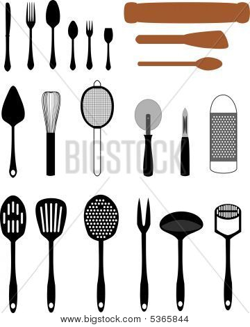 Kitchen Utensils Vector Illustration Set