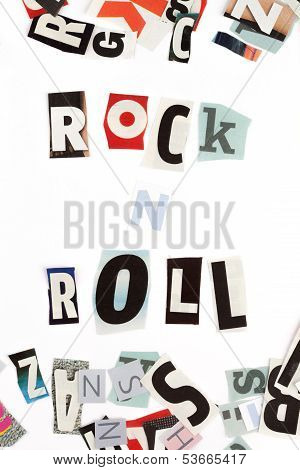 Rock n Roll inscription made with cut out letters