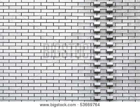 White Wall Background Texture With Two Rows Of Protrusive Bricks