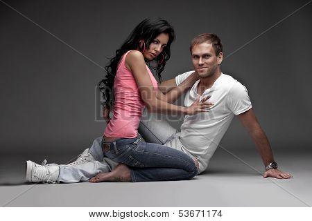 studio photo of young couple