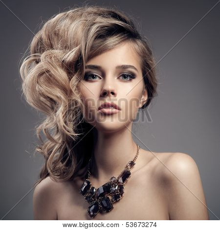Fashion Portrait Of Luxury Woman With Jewelry. poster
