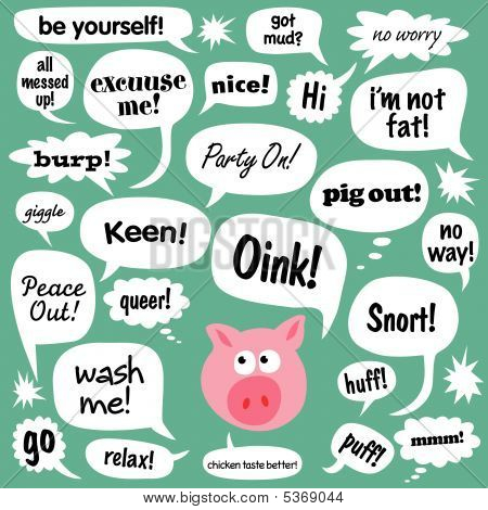 Talking Pig and Various Phrases in Comic Bubbles
