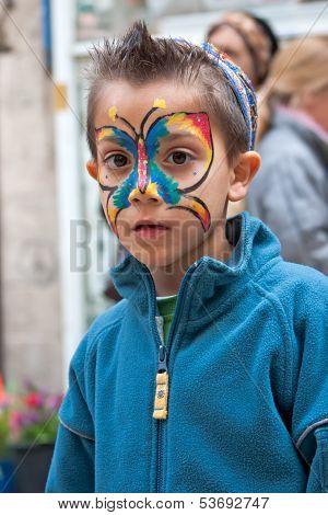 Jerusalem, Israel - 15 March 2006: Purim Carnival. Little Boy With A Body-art On Face.