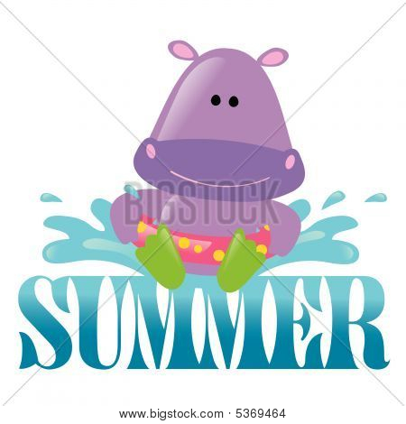 poster of Summer Splash Graphic 3 Vector with hippo