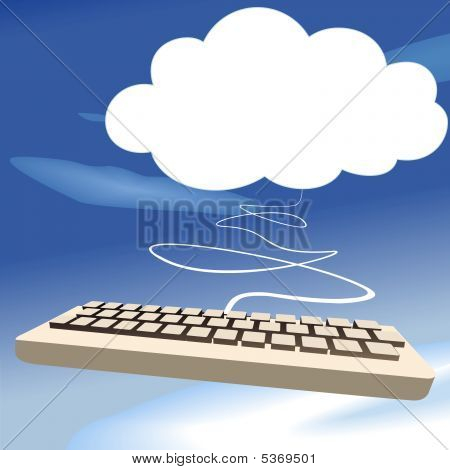Clouds Computing Keyboard On Blue Sky Background