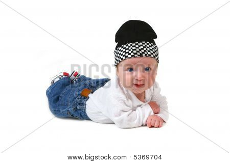 Happy Cute Baby Lying On His Tummy