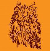 Owl on an orange background, hipster symbol, vector illustration. Illustration for t-shirt.   poster