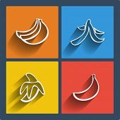 Set of 4 vector web and mobile banana icons in flat design. Symbols of bananas banana skin. poster