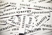Synergy. Concept of words related with business poster