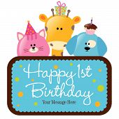 Isolated baby animals with first birthday sign (blue) vector poster