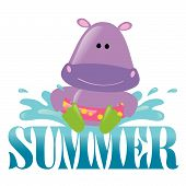Summer Splash Graphic 3 Vector with hippo poster