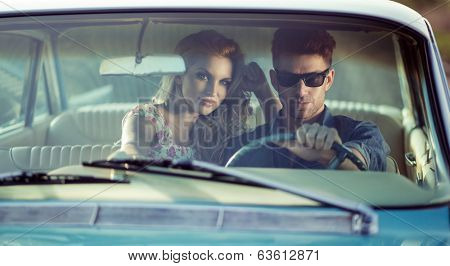 Sexy couple in the car